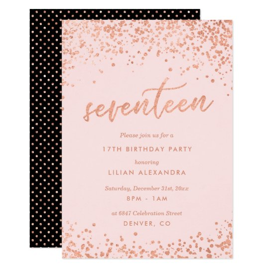 Rose Gold 17th Birthday Invitation