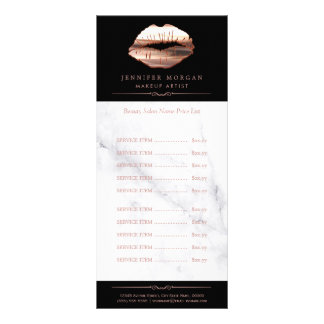 Rose Gold 3D Lips Marble Beauty Salon Price List Rack Card