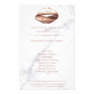 Rose Gold 3D Lips Marble Texture Beauty Salon 14 Cm X 21.5 Cm Flyer