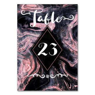 Rose gold abstract marbleized wedding collection card