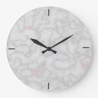 Rose Gold Accented Marble [HQ] Large Clock