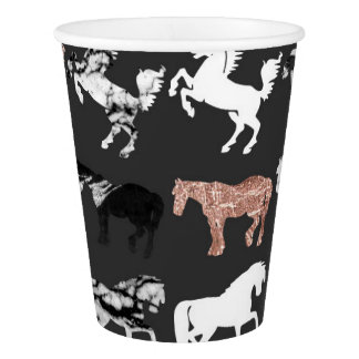 Rose Gold and Black and White Marble Modern Horses Paper Cup