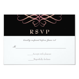 Rose Gold and Black, Elegant Flourishes Wedding 9 Cm X 13 Cm Invitation Card