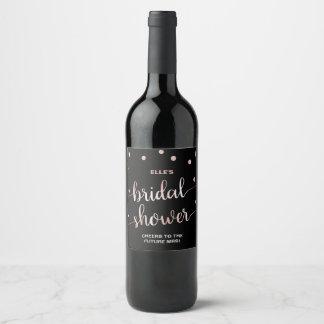 Rose Gold and Black | Glam Confetti Bridal Shower Wine Label