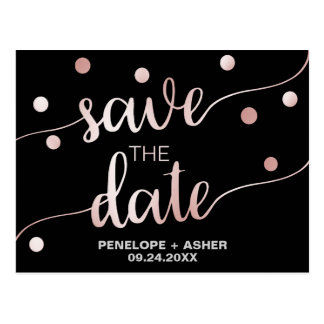 Rose Gold and Black | Glam Confetti Save the Date Postcard