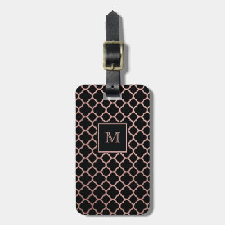 Rose Gold and Black quatrefoil Luggage Tag