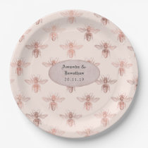 Rose Gold and Blush Bees Wedding Paper Plate