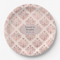Rose Gold and Blush Damask Foil Wedding Paper Plate