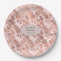 Rose Gold and Blush Floral Foil Wedding Paper Plate