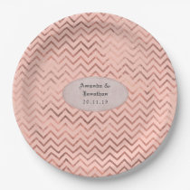 Rose Gold and Blush Foil Chevron Wedding Paper Plate