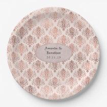Rose Gold and Blush Foil Damask Pattern Wedding Paper Plate