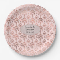 Rose Gold and Blush Foil Damask Wedding Paper Plate