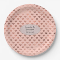 Rose Gold and Blush Foil Love Hearts Wedding Paper Plate