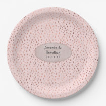 Rose Gold and Blush Foil Stars Wedding Paper Plate
