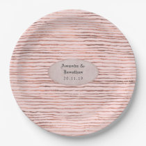 Rose Gold and Blush Foil Stripes Wedding Paper Plate