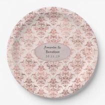 Rose Gold and Blush Foil Vintage Damask Wedding Paper Plate