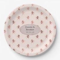 Rose Gold and Blush Foil Vintage Unicorn Wedding Paper Plate
