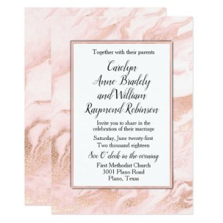 Rose Gold and Blush Marbled Wedding Invitation