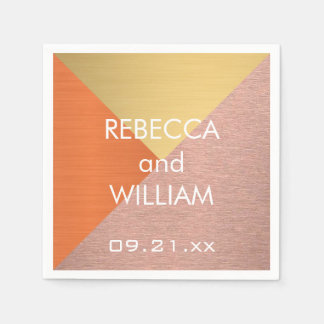 Rose Gold And Copper Modern Wedding Reception Paper Napkin