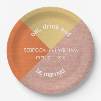 Rose Gold And Copper Modern Wedding Supplies 9 Inch Paper Plate