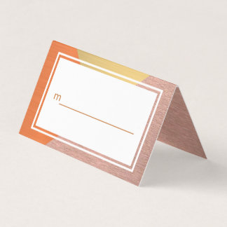 Rose Gold And Copper Modern Wedding Your Names Place Card
