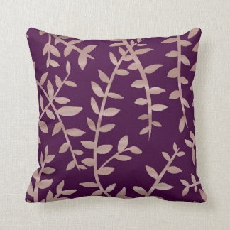 Rose gold and dark purple leaf pattern cushion