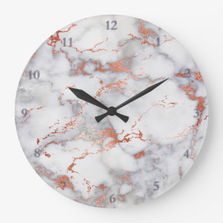 rose gold and grey marble stone large clock