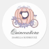 Rose Gold and Lilac Glitter Princess Quinceañera Classic Round Sticker