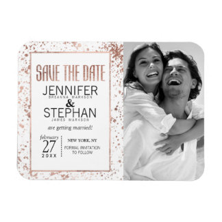 Rose Gold and Paint Splatters Save the Date Magnet