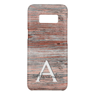 Rose Gold and Rustic Barn Wood Monogram Case-Mate Samsung Galaxy S8 Case