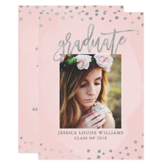 Rose Gold and Silver Graduation Party Card
