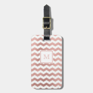 Rose Gold and White Chevron Luggage Tag