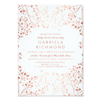 Rose Gold and White Floral White Baby Shower Card