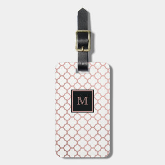 Rose Gold and white quatrefoil Luggage Tag