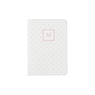 Rose Gold and White Tiny Polka Dot Passport Holder