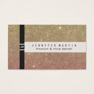 Rose Gold and Yellow Gold Glitter Mesh Business Card