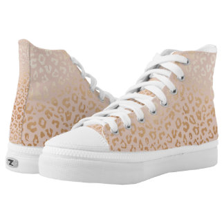 Rose Gold Animal Print Pattern High-Top Sneakers