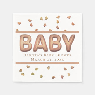 Rose Gold Baby Shower | Heart Confetti Balloon Paper Napkin