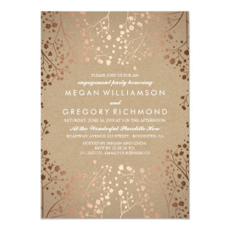 Rose Gold Baby's Breath Floral Engagement Party Card