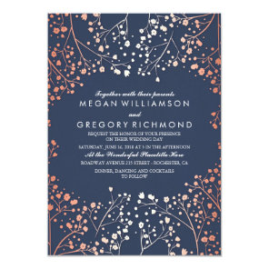 Rose Gold Baby's Breath Floral Navy Modern Wedding Invitation
