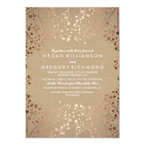 Rose Gold Baby's Breath Floral Vintage Wedding Invitation
