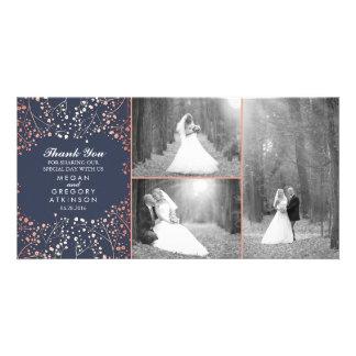 Rose Gold Baby's Breath Wedding Photo Thank You Customized Photo Card