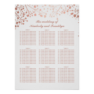 Rose Gold Baby's Breath Wedding Seating Chart