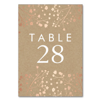 Rose Gold Baby's Breath Wedding Table Numbers