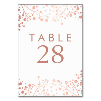 Rose Gold Baby's Breath Wedding Table Numbers Table Cards