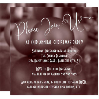 Rose Gold Ball Ornaments Photo, Christmas Party Card