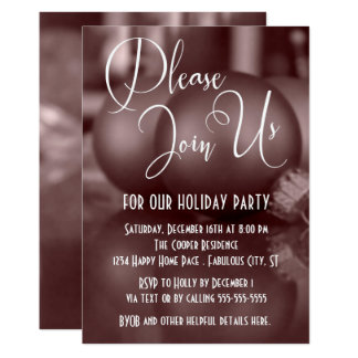 Rose Gold Ball Ornaments Photo, Holiday Party Card