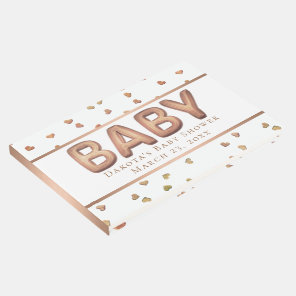 Rose-Gold Balloon Baby Shower | Heart Confetti Guest Book