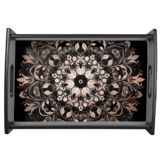 Rose Gold Black Floral Mandala Serving Tray