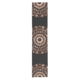 Rose Gold Black Floral Mandala Short Table Runner